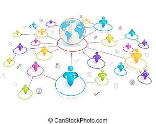 Isometric 3d Social Media Network.