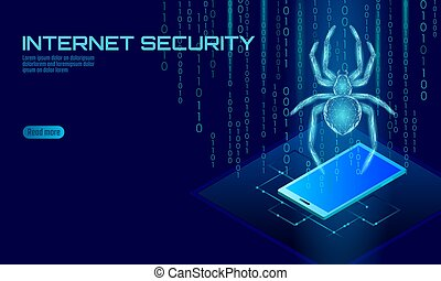 Isometric 3D spider hacker attack danger. Web security virus data safety antivirus concept. Smartphone lock design business concept. Cyber crime web insect bug technology vector illustration