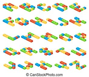 Isometric 3D vector alphabet letters made of plastic cubes...