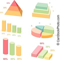 Isometric 3d vector charts.  layers graphs and pyramid diagram. Infographic presentation, design data finance. Vector illustration