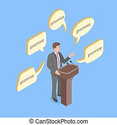 Isometric 3d vector concept of politician giving empty...