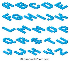 Isometric 3D vector font of plastic blue cubes constructor