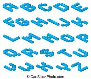 Isometric 3D vector font of plastic blue cubes constructor