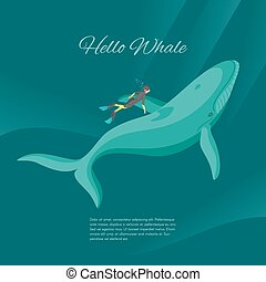 Isometric 3d vector illustration of diver and whale underwater