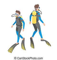 Isometric 3d vector illustration of diver.