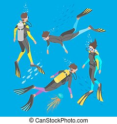 Isometric 3d vector illustration of divers.