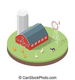 Isometric 3d vector illustration of farm.