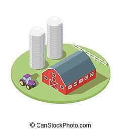 Isometric 3d vector illustration of farm.