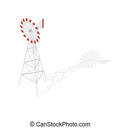 Isometric 3d vector illustration of farm windmill.