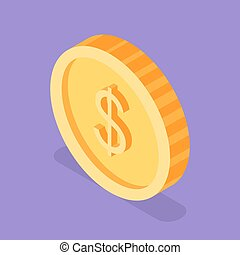 Isometric 3d vector illustration of golden coin.