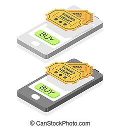Isometric 3d vector illustration of online buy cinema tickets. Smartphone icon.