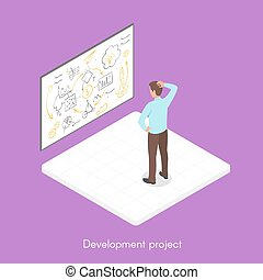 Isometric 3d vector illustration of project development.
