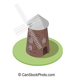 Isometric 3d vector illustration of windmill.