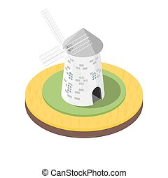 Isometric 3d vector illustration of windmill in the wheat