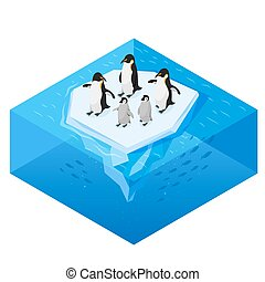 Isometric 3d vector realistic style illustration of penguins on the glacier