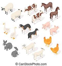 Isometric 3d vector set of farm animals