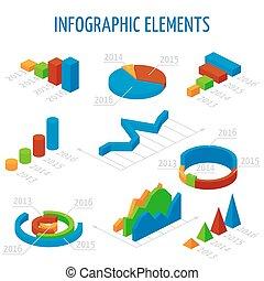 isometric, 3d, vetorial, gráficos, jogo, para, infographics