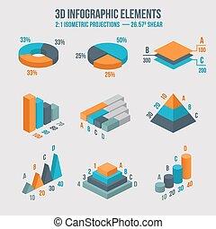 isometric, 3d, vetorial, sinal., torta, e, donut, mapa, camadas, gráficos, piramide, diagrama