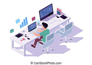 Isometric 3d young businessman with cup of coffee at the computer in workplace for two at work.