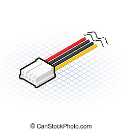 Isometric 4 Pin Floppy Connector - This image is a 4 pin...
