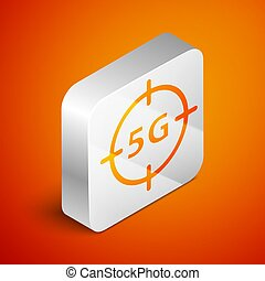 Isometric 5G new wireless internet wifi connection icon isolated on orange background. Global network high speed connection data rate technology. Silver square button. Vector