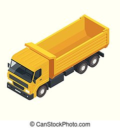 Isometric a dump truck, dumper, tipper truck isolated on white. Truck used for transporting loose material, sand, gravel, or demolition waste for construction.