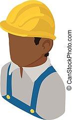 isometric, aannemer, stijl, amerikaan, afrikaan, pictogram, ingenieur, 3d