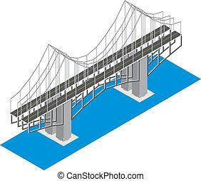 isometric, aanzicht, van, de, brug
