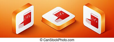 Isometric ABC book icon isolated on orange background. Dictionary book sign. Alphabet book icon. Orange square button. Vector