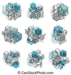 Isometric abstract backgrounds with lines and other...