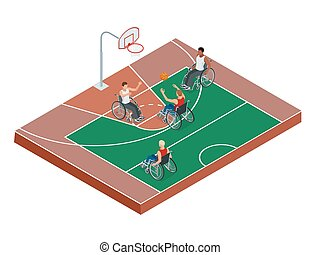 Isometric Active healthy disabled men basketball players in a wheelchair detailed sport concept illustration background vector