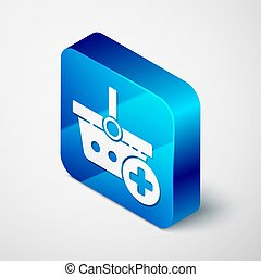 Isometric Add to Shopping basket icon isolated on grey background. Online buying concept. Delivery service. Supermarket basket symbol. Blue square button. Vector Illustration