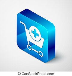 Isometric Add to Shopping cart icon isolated on grey background. Online buying concept. Delivery service sign. Supermarket basket symbol. Blue square button. Vector Illustration