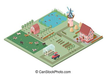 Isometric Agricultural Farming Concept