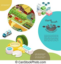Isometric Agriculture Colorful Template - Isometric...