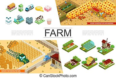 Isometric Agriculture Elements Collection