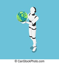 Isometric Ai robot holding the world or earth globe