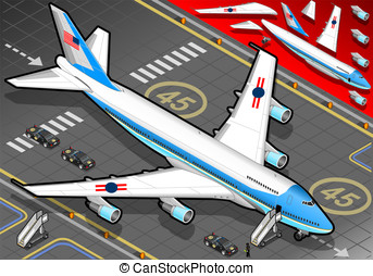 Isometric Air Force One in Front View - Detailed...