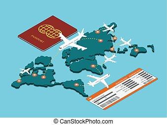 Isometric air travel transportation