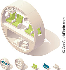 Isometric aircraft cabin cross-sect - Vector isometric...