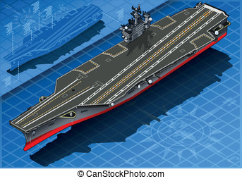 Isometric Aircraft Carrier in Front View - detailed...