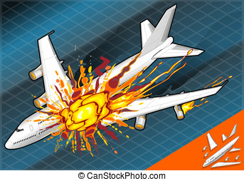 Isometric airplane falling down with explosion
