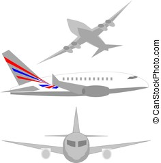 Isometric airplane multiple view set
