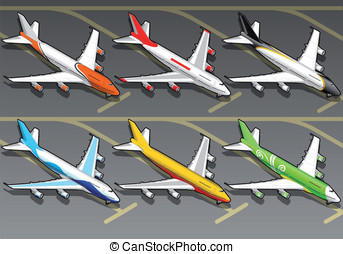 Isometric airplanes in six livery