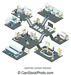 Isometric airport halls composition with people check-in counter terminal customs control departure gates lounge cafe restroom vector illustration