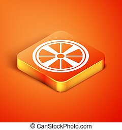 Isometric Alloy wheel for a car icon isolated on orange background. Vector