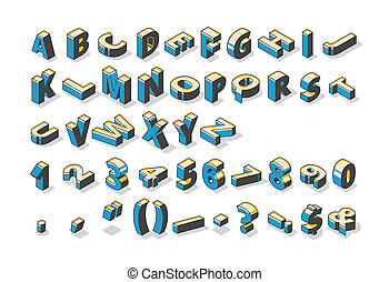 Isometric alphabet, numbers and punctuation marks