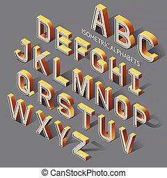 Isometric Alphabets. Vector Illustration.