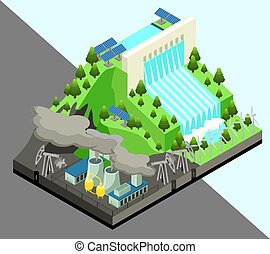 Isometric Alternative Energy Production Concept