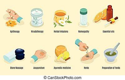 Isometric Alternative Medicine Elements Set